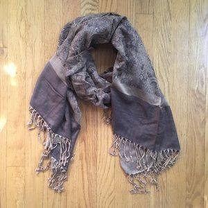 pashmina Accessories - Brown Pashmina Silk Scarf Wrap